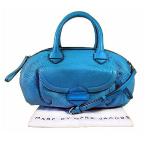 MARC JACOBS Duffel Blue Leather Satchel Bag$449.00